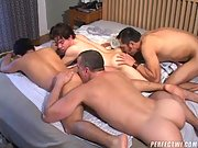 Dads fucking sons foursome as jizz gets sprayed everywhere