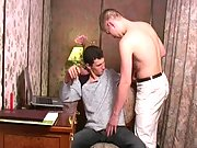 Blonde boy comes up to his boss and unzips his pants to suck his cock.