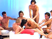 Lots of hot studs enjoying some groupsex blowjob action