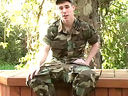 Cute soldier wank and cum explode outdoor
