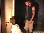 6 Horny studs sucking cock through a glory hole