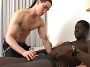 Long haired dude joins black man on the bed and blows him