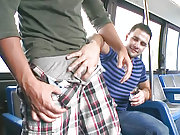 A straight dude fucked by some extra cash in a bus