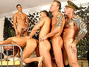 The horny triplets sucking and fucking 2 handsome army guys