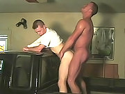 Gay hottie gets his ass and mouth cock banged