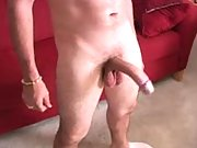 Horny Latino playing with that fat cock that he has