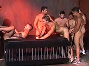 A bunch of naked boys having a buttfuck and blowjob session
