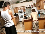 3 boys suck each others cocks and eat each others asses in the kitchen