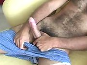 Horny mature man giving his cock the royal treatment