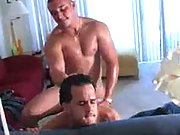 He pulls out to jack off his cock right over his butt buddy�s body.