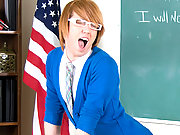 Cutie twinks give first blowjobs in the classrooms