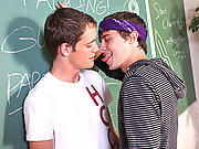 Two very horny and sensual twinks relaxing their cocks and bumhole during school pause!