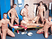 Muscle gay jocks have an orgy in the locker room