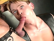 Hot guy is facefucked hard while riding a super-sized dildo