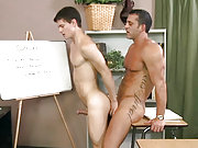 A pupil seducing his muscle male teacher in class