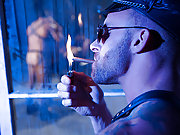 Muscle gay leathermen fuck a horny slave doggys