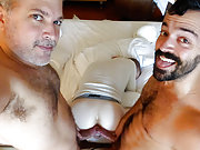 Two older gay men fuck another dude in the ass