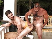 Muscle gay bear drills an older gay man doggie