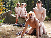 Horny cowboyshave a gay porn orgy in the wood