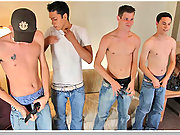 Four str8 boys have their first group sex experience
