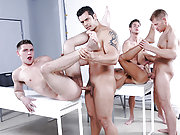 Five horny gay men fucking each other so hard