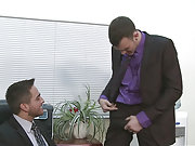 Two horny office players cock riding in the room