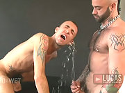 two angry muscle gay men in a wild fetish orgy