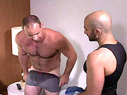 Hairy plumber fucking a muscle stud doggy style