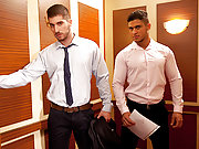 Hunky office gay men ass fucking in the elevator