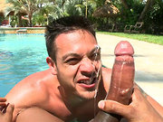 Lucky man gets fucked and eats hot cum by the pool