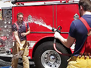 Muscle gay firemen suck and fuck each other hard