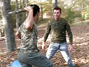 Angry paintball soldier forced to fuck a young boy