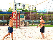 Two jocky studs playing volleyball leads hot sex!
