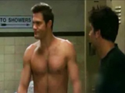 Geoff Stults hangs out with other naked guys in the locker room