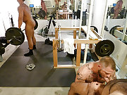 Muscle gay bears suck and fuck in the local gym