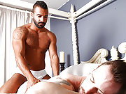 Muscle tanned gay lover fucks a dude in the ass