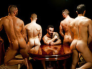 Older gay Jessy Ares in a muscle gay porn orgy