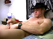 Muscular guy with nipple rings strokes his fat meat