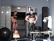Two muscle and hairy gay jocks in the locker room