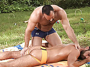 Two muscle, hairy and older gay men in the outoor