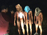 Midnight hazing with 3 naked guys with huge cocks