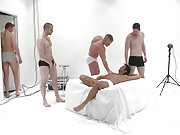 A bunch of gay men have an orgy in the white room