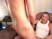A handsome blond guy getting ass drilled by a dad