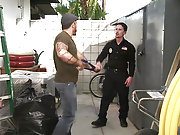 Two criminals forced to fuck a cop in the backyard