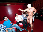 Muscle dancer getting sucked by 10 horny studs
