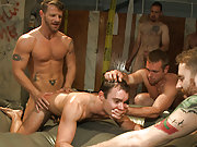 The gay boy gets double fucked at the mens room