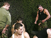 A bunch of muscle military gay men have an orgy