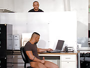 Two muscle gay men butt fucking hard in the office