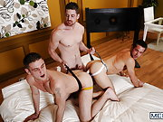 Andrew Stark fucks two guys with a big long dildo