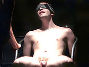 Cute hunk gets blindfolded and had his cock sucked